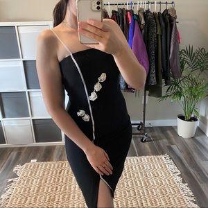 Frank Lyman Design Black Vintage 3D Floral Bodycon Short Sleeve Dress Size 6